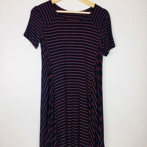 Navy & Red Striped Dress